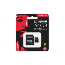 Карта пам`яті  Kingston 64GB microSDXC C10 UHS-I U3 R90/W45MB/s Canvas Go + adapter
