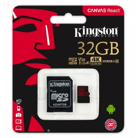 Карта памяті Kingston 32GB microSDHC C10 UHS-I U3 R100/W80MB/s + SD