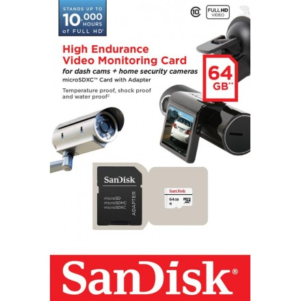 Карта памяти SanDisk High Endurance Video Monitoring microSDXC 64GB Class 10 20MB/s